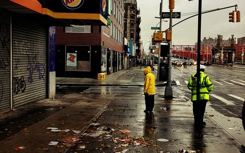 A street in NYC after Hurricane Sandy.
