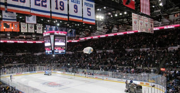 New York Islanders prepare to leave Nassau Coliseum.