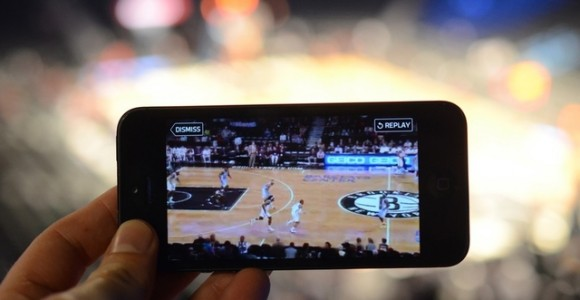 Barclays Center in Brooklyn using new StadiumVision Mobile app.