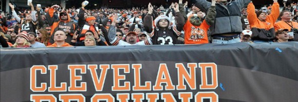 Fans cheering for the Browns