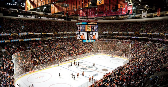 Wells Fargo Center Hockey Set Up