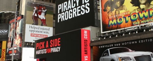 Ghost Beach is using American Eagle Outfitters' billboard in Times Square to promote their campaign on Piracy.