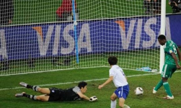 Visa Signage behind goal during World Cup games