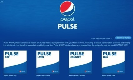 "Pepsi is introducing their ""Pulse of Now"" stations on iTunes Radio"